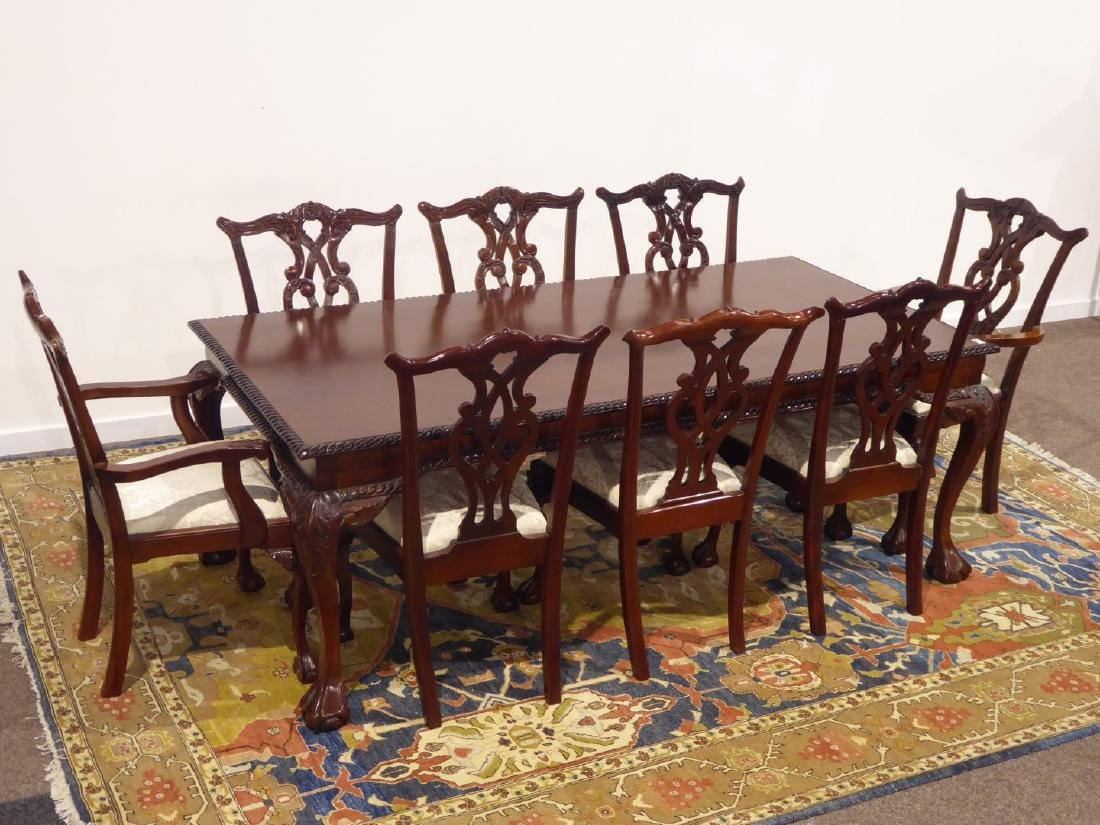 Chippendale style mahogany dining table, rectangular