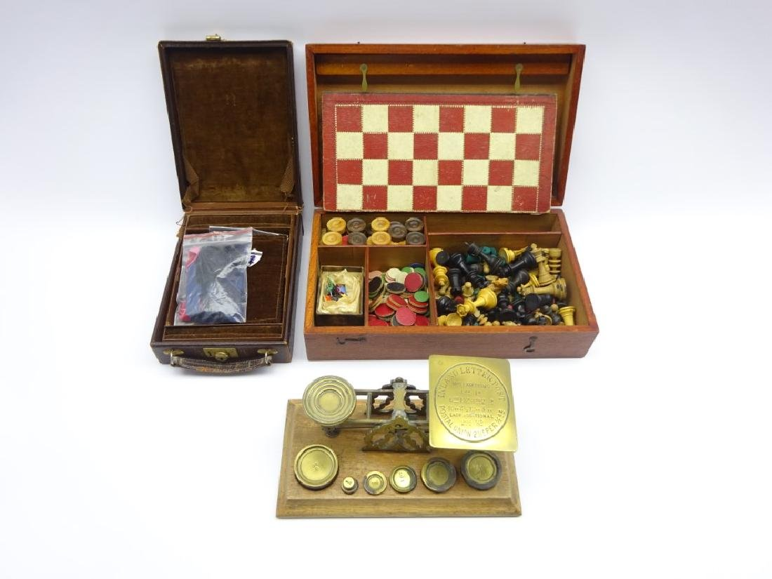 Set of brass postal scales and weights by S. Mordan &