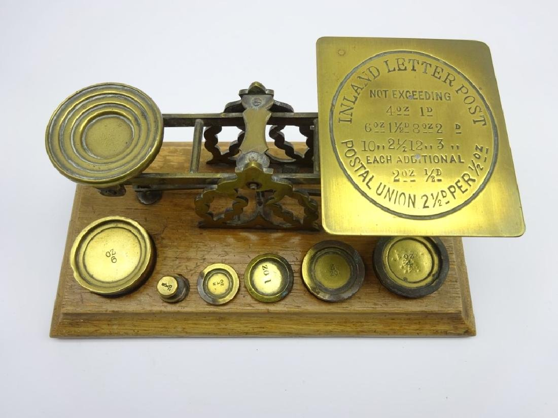 Set of brass postal scales and weights by S. Mordan & - 6