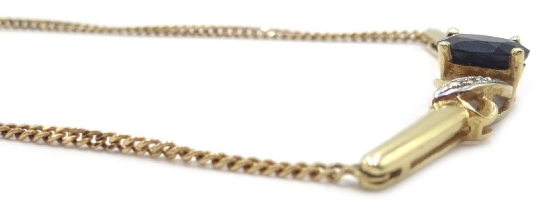 9ct gold sapphire and diamond necklace, hallmarked - 2