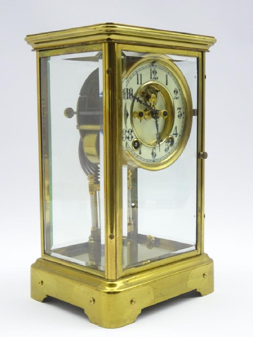 Early 20th century brass four glass mantel clock, - 2