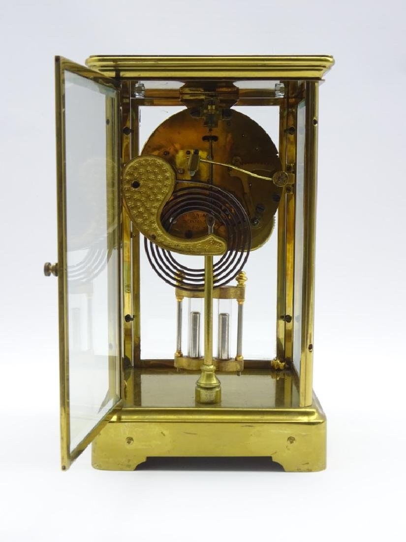 Early 20th century brass four glass mantel clock, - 3