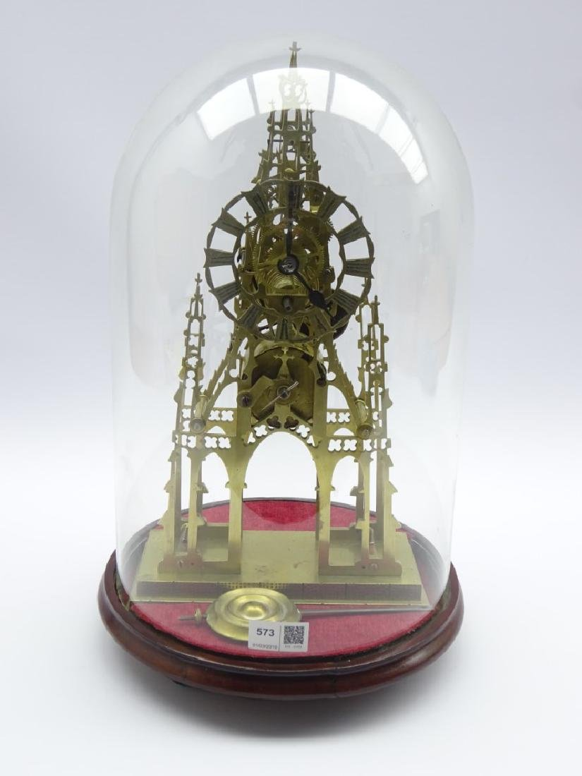 20th century Gothic style brass skeleton clock, pierced