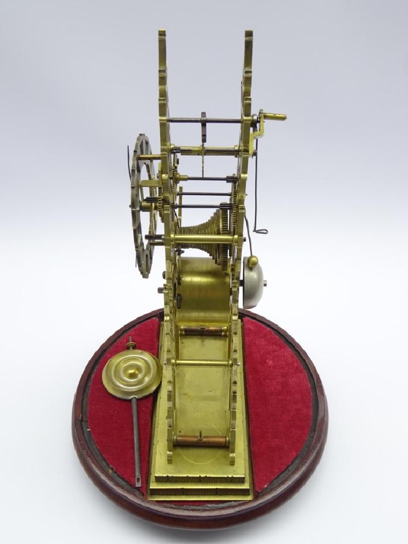 20th century Gothic style brass skeleton clock, pierced - 2
