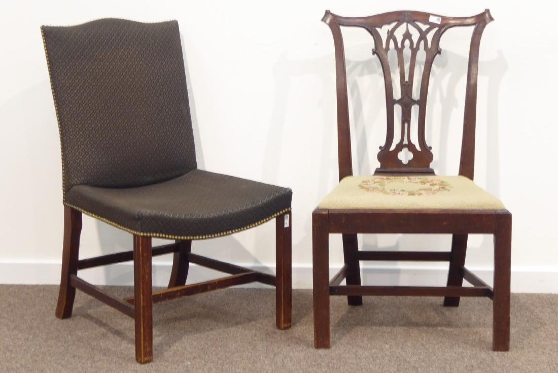 Georgian mahogany dining chair pierced splat back, wide