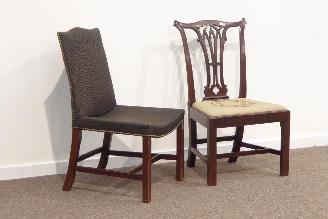 Georgian mahogany dining chair pierced splat back, wide - 2