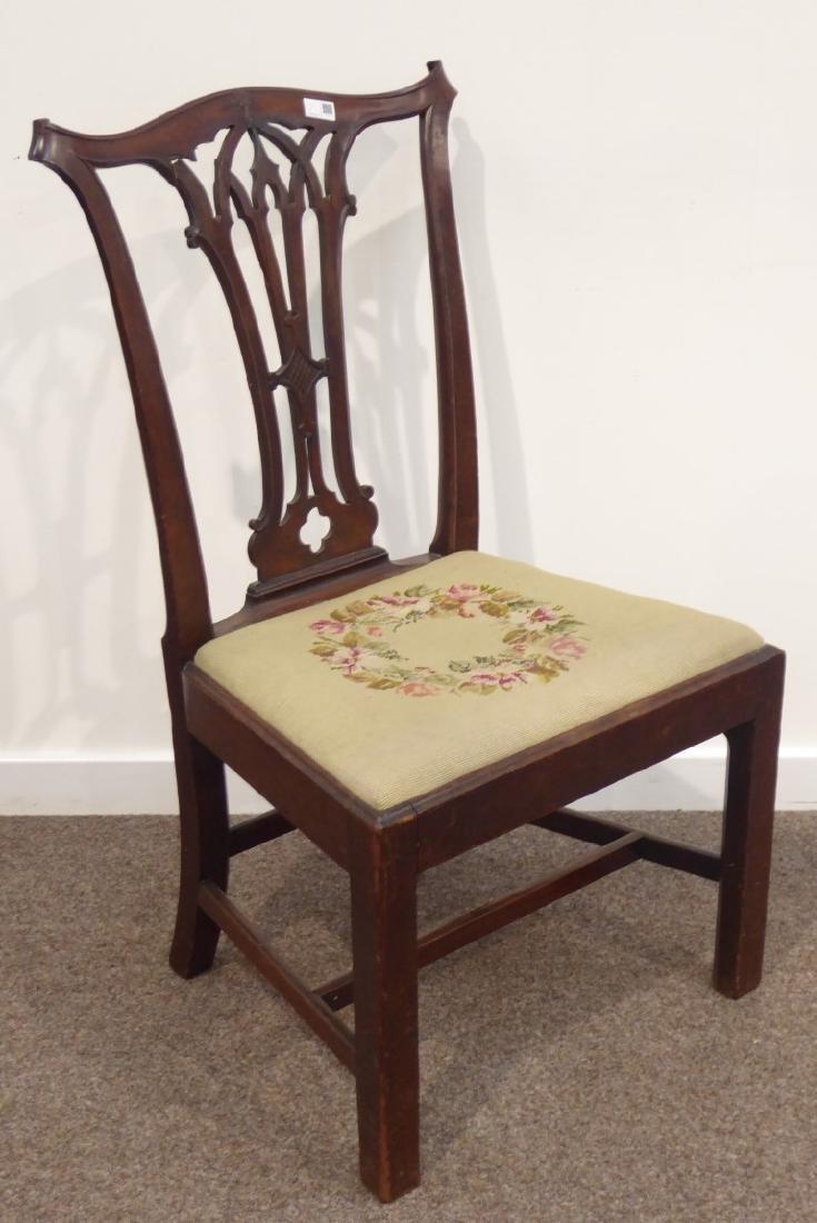 Georgian mahogany dining chair pierced splat back, wide - 3