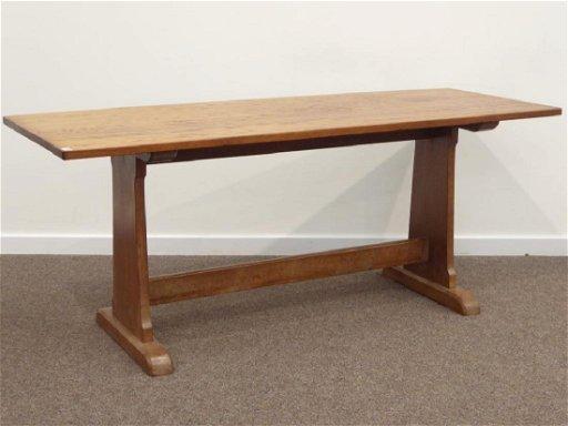 Craftsman Made Oak Rectangular Adzed Top Dining Table