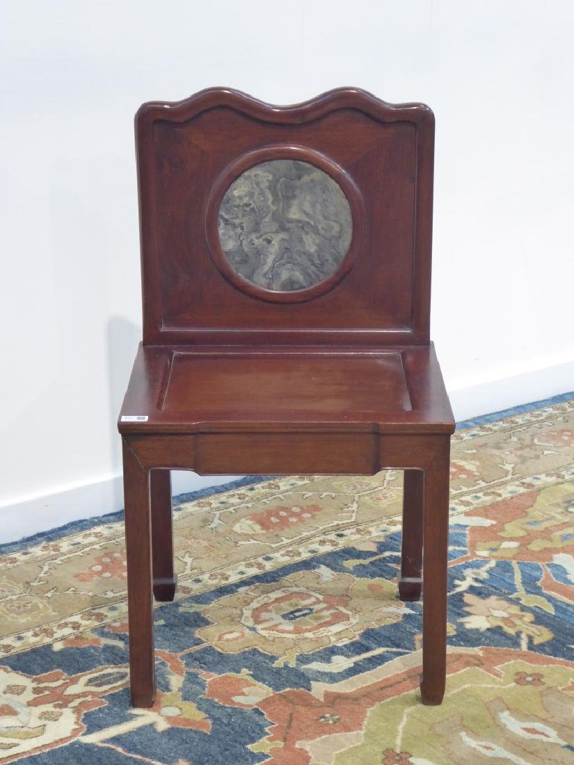 19th/20th century Chinese hardwood chair with circular - 2