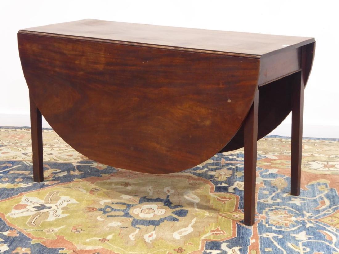19th century mahogany Pembroke table, oval drop leaf