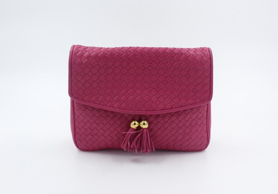 Pink Ganson Woven Leather Clutch Purse