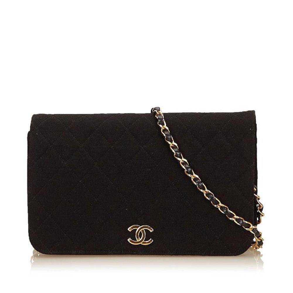 d4ef24472f6e Chanel black cotton Classic Flap Shoulder Bag