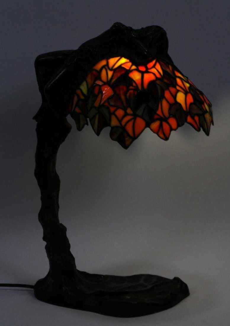 Leaded Glass Shade with Reclining Nude - 6