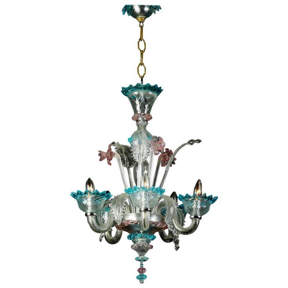 Italian Murano Glass Daffodil Chandelier