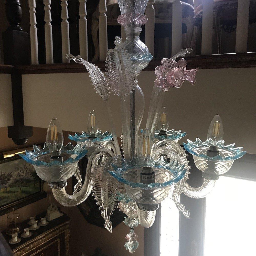 Italian Murano Glass Daffodil Chandelier - 5
