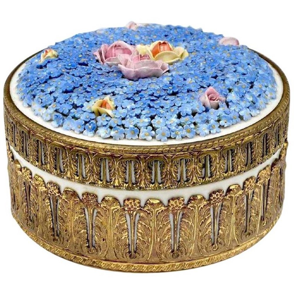 Decorated Porcelain Covered Forget-Me-Not Porcelain Box