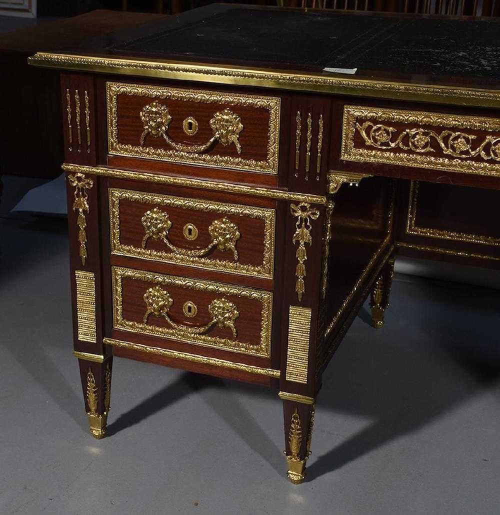 Empire Style Mahogany Flat Top Desk - 4
