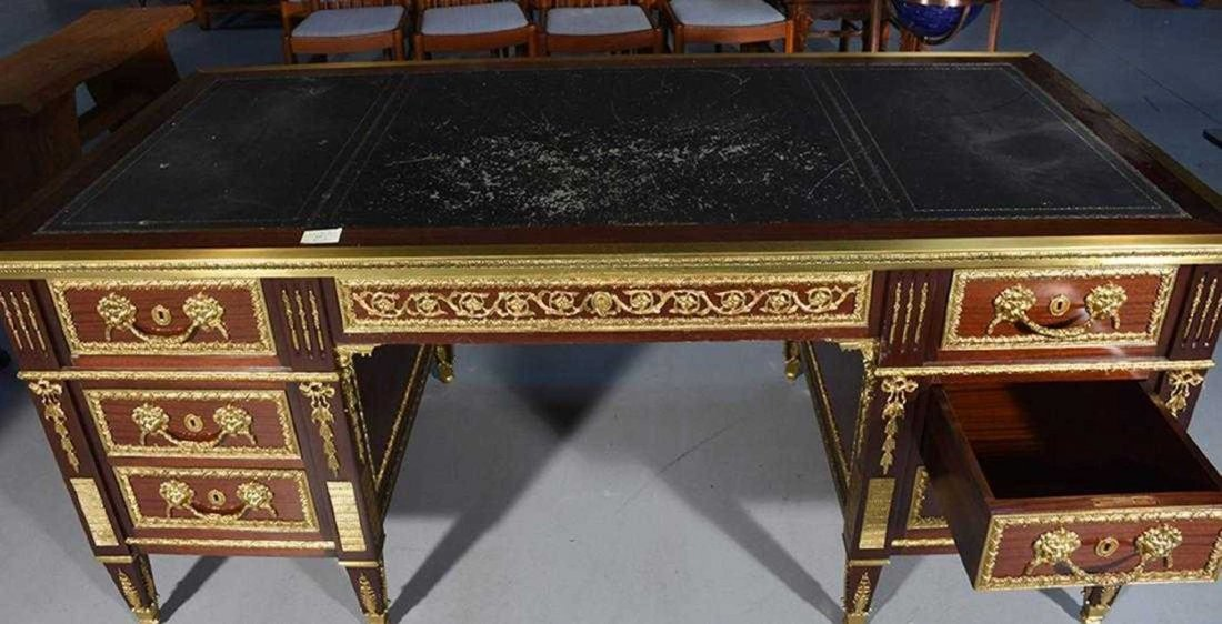 Empire Style Mahogany Flat Top Desk - 6
