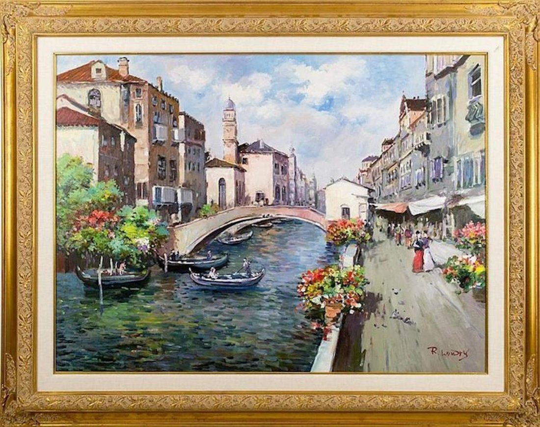 Signed Venician Canal Oil Painting Early 20th Century
