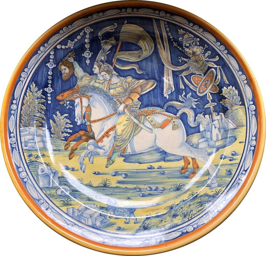Large Italian Majolica Charger, Riders on Horseback,