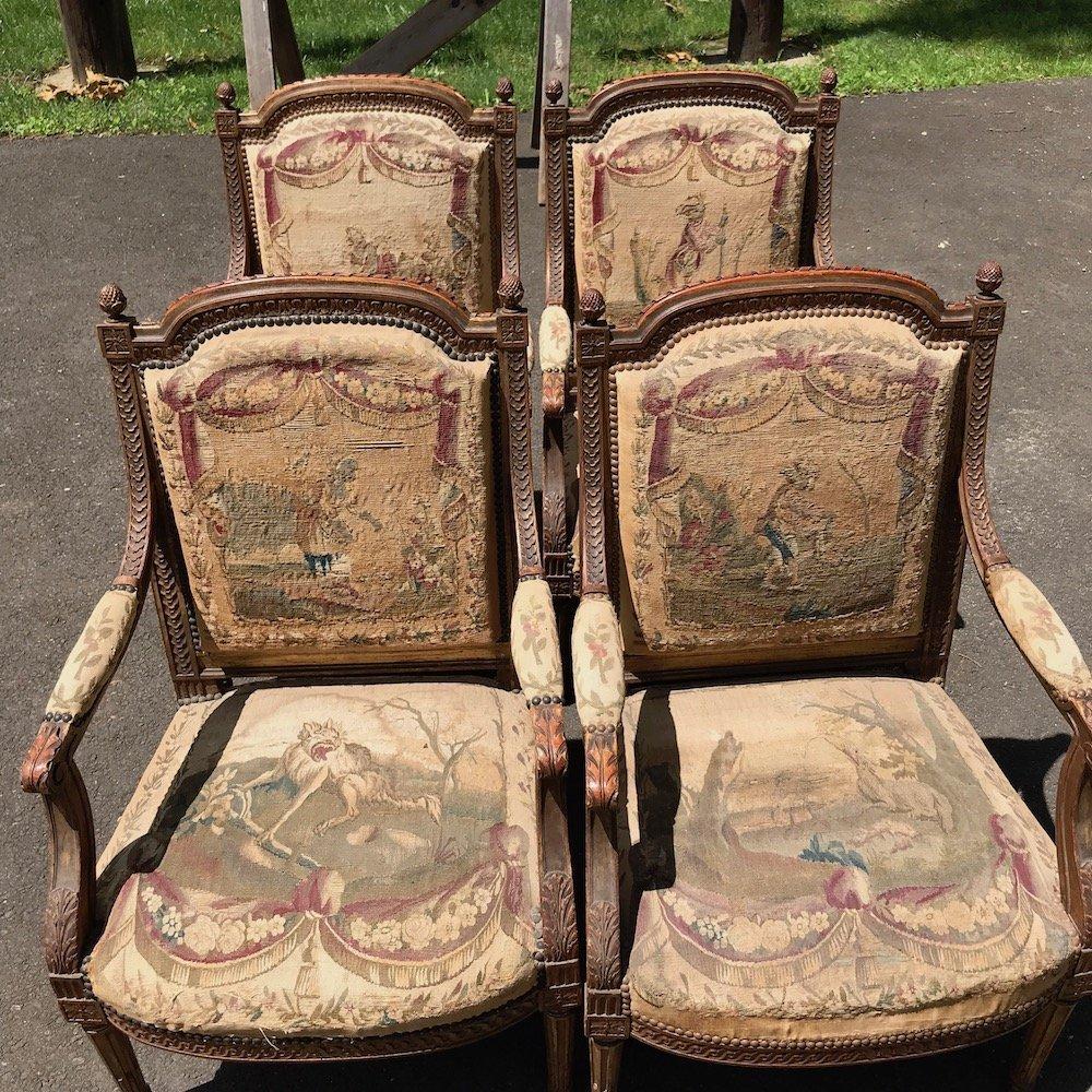 Set of 4 19th Century French Louis XVI Fauteuils