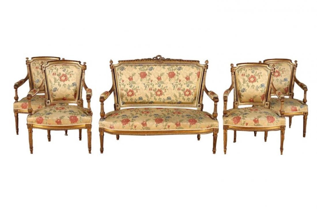 Set of 5, French Giltwood Louis XVI Style Settee and 4