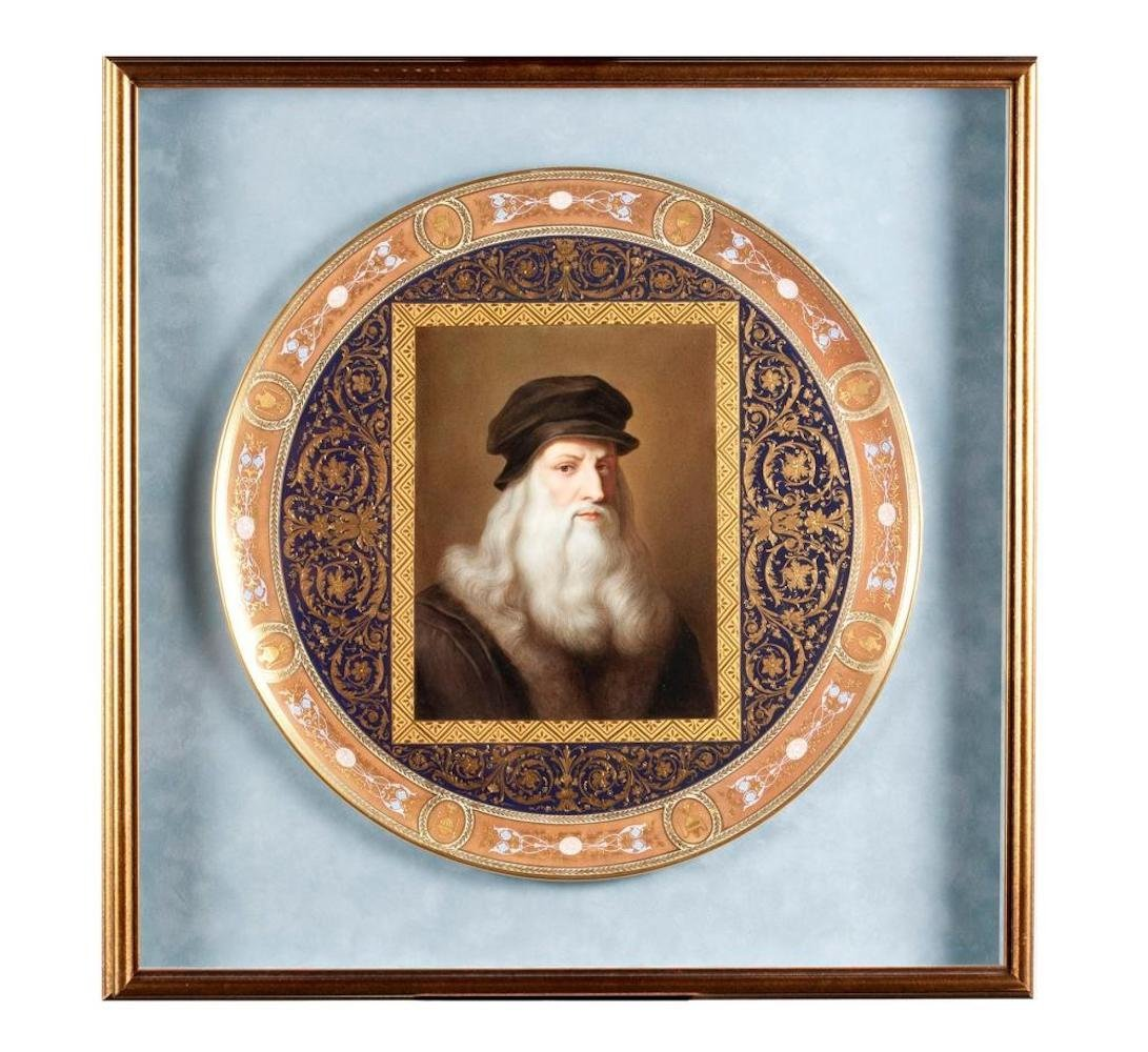 Hand Painted Porcelain Portrait Charge of Leonardo Da