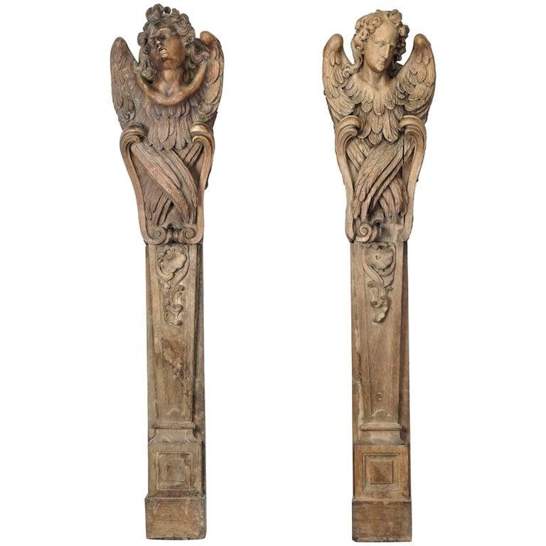Two 18th Century French Carved Oak Angel Pilasters