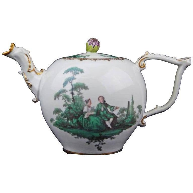 18th Century Antique Meissen Porcelain Green Watteau
