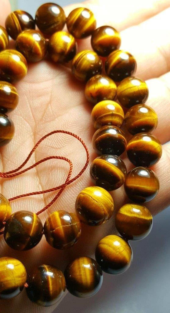 BEADED NATURAL TIGER EYE NECKLACE