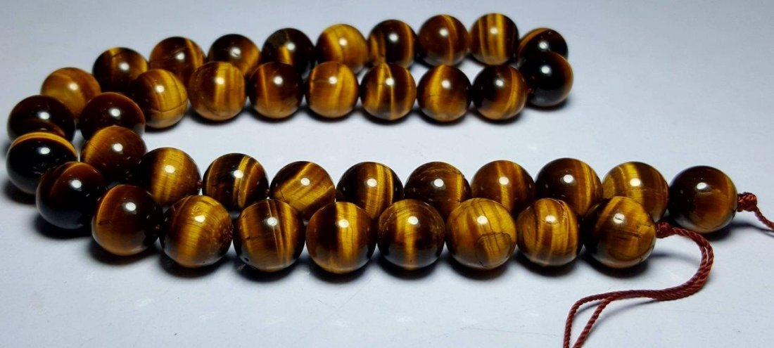 BEADED NATURAL TIGER EYE NECKLACE - 2