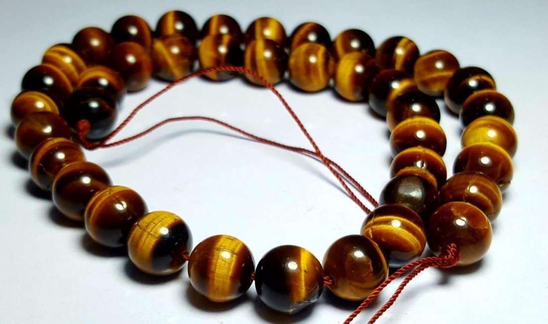 BEADED NATURAL TIGER EYE NECKLACE - 5
