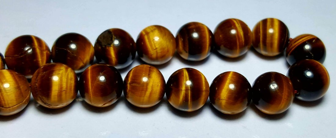 CALIBRATED BEADED TIGER EYE NECKLACE - 2
