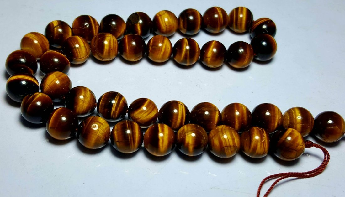 CALIBRATED BEADED TIGER EYE NECKLACE - 3