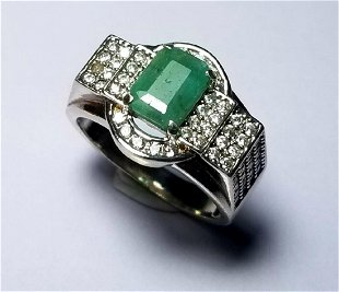 74a15f200 Natural Emerald Sterling Silver Ladies Ring Natural Emerald Sterling Silver Ladies  Ring