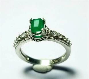 Natural Emerald Sterling Silver Ladies Ring
