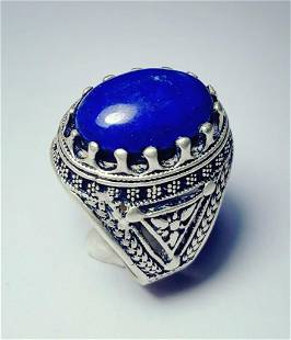 Sterling Silver Lapis Ring Egyptian Style
