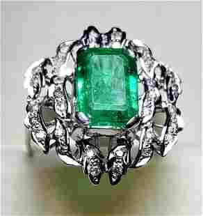 Emerald Platinum Ring with White Diamonds