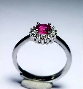 Rubelite Tourmaline Sterling Silver Ladies Ring