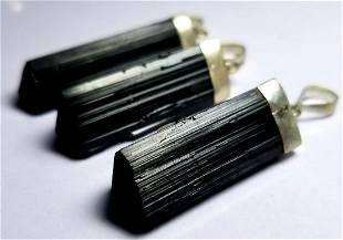 STERLING SILVER BLACK TOURMALINE PENDANTS
