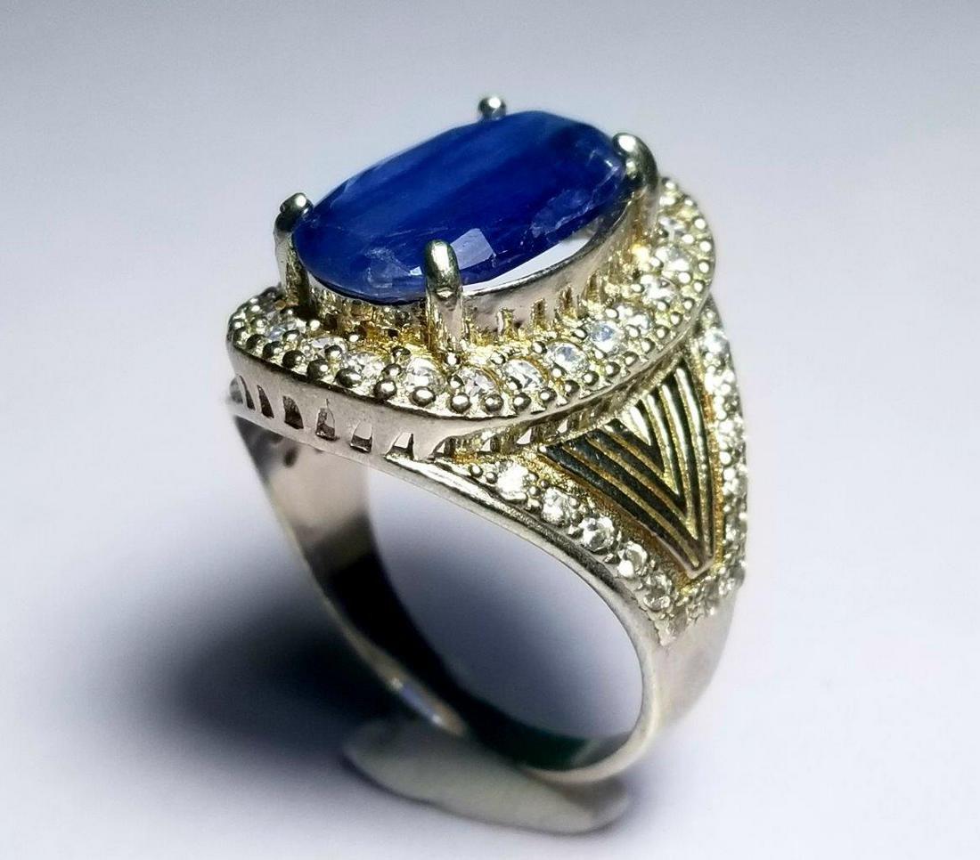 Natural Kynite Sterling Silver Ladies Ring