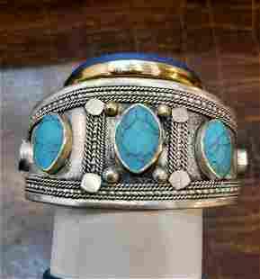 Antique type Silver Gilt Cuff Bracelet