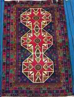 Hand Knotted Afghan Kargahi Wool Rug