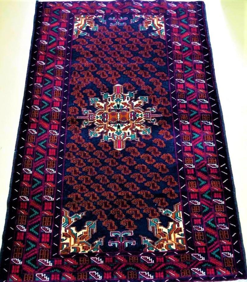 Hand Knotted Afghan Bukhara Wool Rug