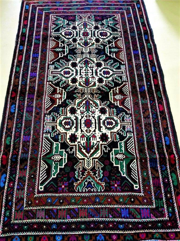 Tribal Baluch Afghan Hand Knotted Area Rug