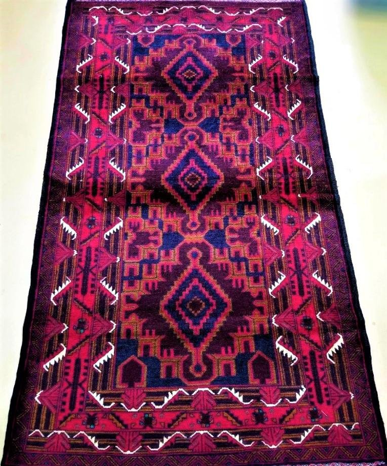 Hand Knotted Red Afghan Bokhara Wool Rug