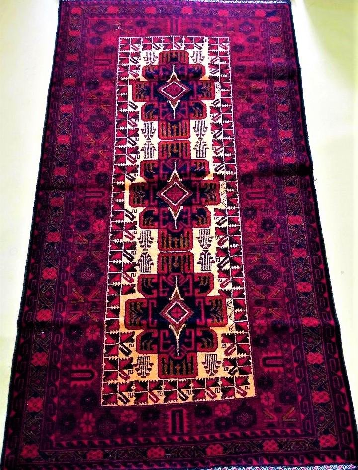 Hand Knotted Red Tribal Afghan Wool Rug