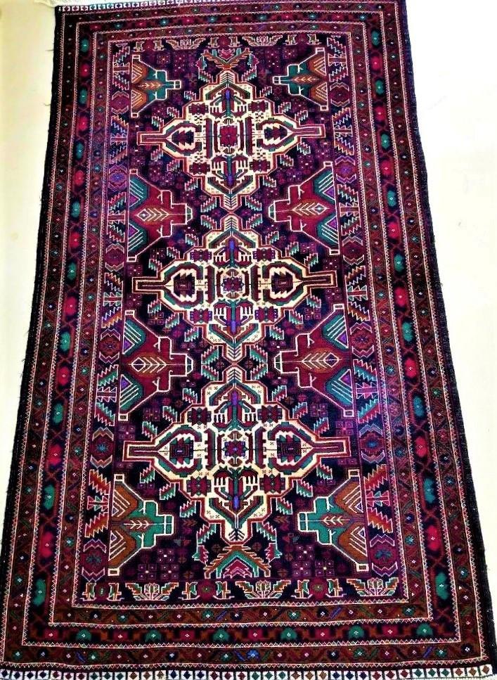 Hand Knotted Tribal Afghan Hirati Wool Rug