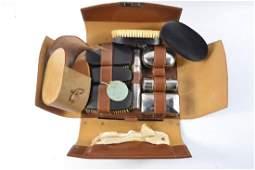 Vintage gentlemans leather cased toiletry travel set