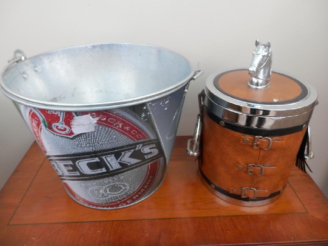Equine themed ice bucket and a Becks beer ice bucket